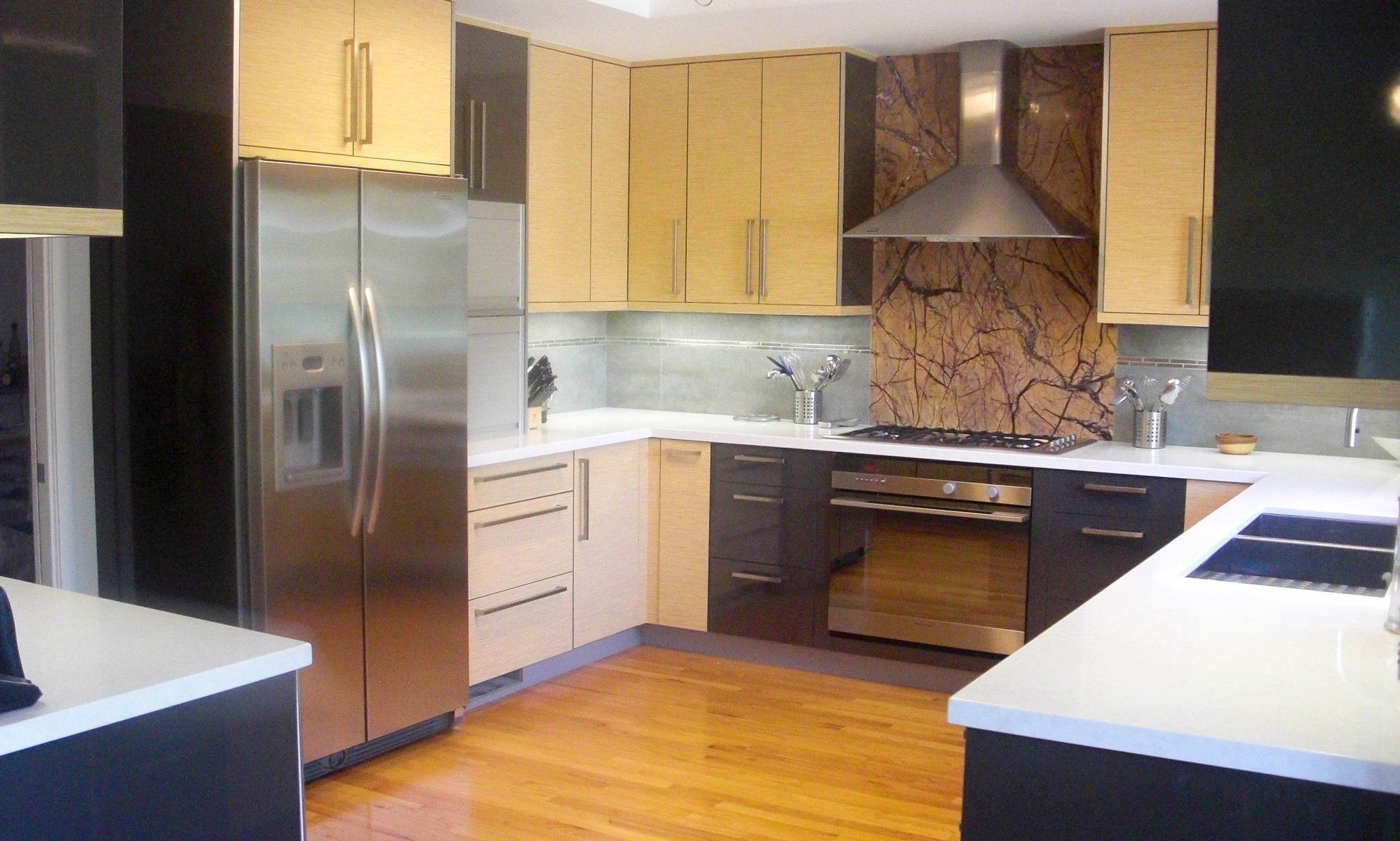 yellow wood kitchen cabinets